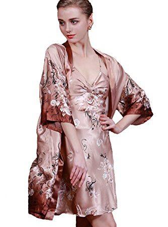Olivery Womens Faux Silk Sleepwear