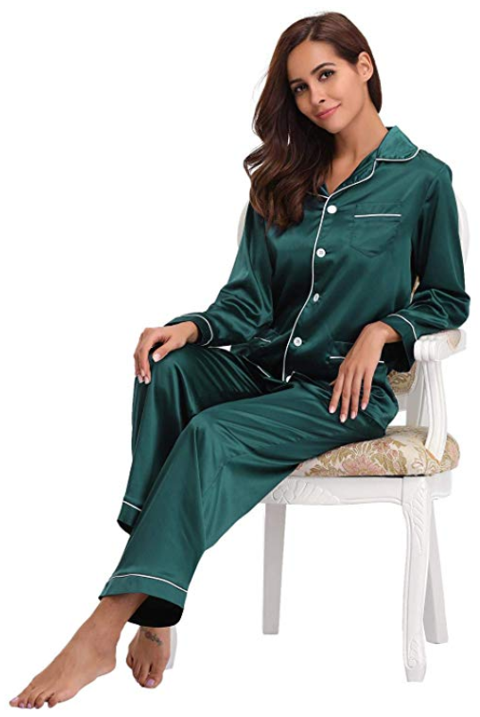 buy real deal outlet for sale Abollria Women's Silk Satin Pajamas Set Soft Long Sleeve ...