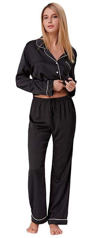 06f9fd7c0 Zexxxy Women's Satin Pajama Set Long Button Down Sleepwear Pants ZE0052