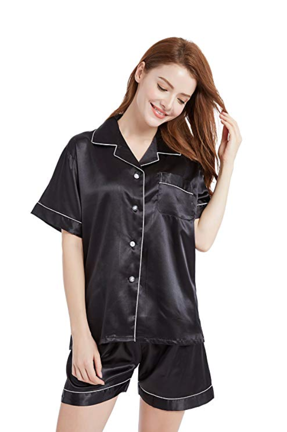 f2614fd564 TONY AND CANDICE Women s Satin Sleepwear Short Sleeve Pajamas Set Button  Down Nightwear 1