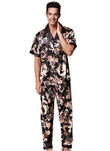 e94002b48c VERNASSA Men s Short Sleeves Sleepwear Silk Satin Pajama Set Pajama Shirt  and Pant Satin Loungewear