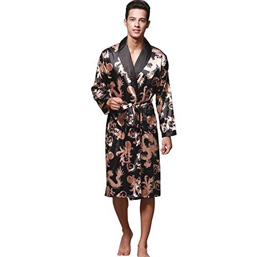 ZUEVI Men s Long Sleeve Satin Kimono Robe Dragon Lightweight Bathrobe  Pajamas 0ef322310