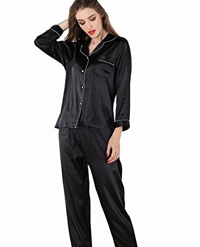 b0b457aa7e VlSl Womens Silk Satin Pajamas Set Sleepwear Loungewear Two-Piece Long  Sleeve Pajama Set