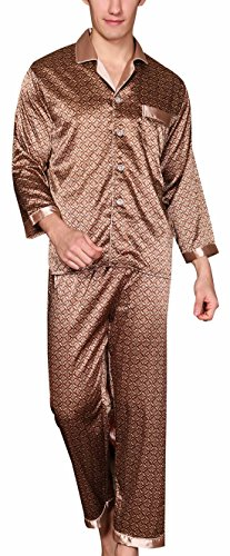 a8e813af5e Yanqinger Mens Luxury Sleepwear Silk Pajamas Set Soft Terylene Long ...
