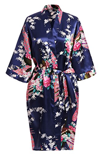USDisc t Elegant Short Sleeve Printing Peacock Silk Women s Kimono Robe for Parties  Wedding Bridal and Bridesmaid 6cccd7a03