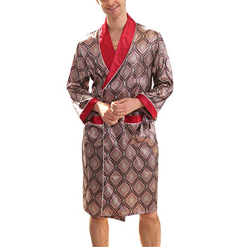 BridalAffair Men s Summer Luxurious Kimono Robe Soft Satin Bathrobe Long- Sleeve Nightgown Printed Pajamas 7cd5ff96e
