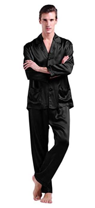 LilySilk Men s Silk Long Pajamas Set 22 Momme Pure Mulberry Silk ... 2bfb07510