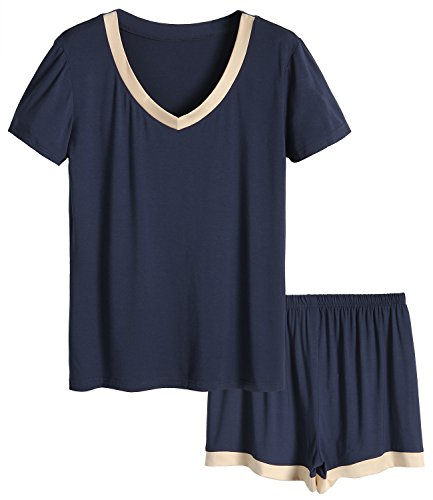 824356fd2 Latuza Women s V-Neck Sleepwear Short Sleeve Pajama Set